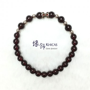 巴西 4A+ 酒紅石榴石手串 5.5mm 配銀飾