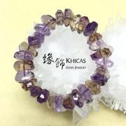 紫黃晶切割面不定型手串