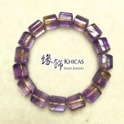 紫黃晶三角桶型手串 10x11mm