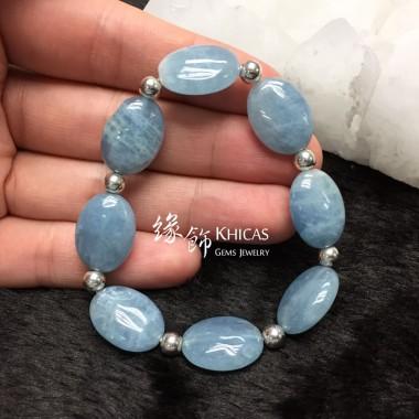3A+ 馬達加斯加海藍寶欖型珠 配銀珠