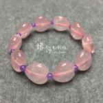 巴西粉晶心形手串 ~16x9.5mm 間紫玉 4mm