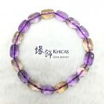 玻利維亞 5A+ 紫黃晶切割面桶珠手串 7x10mm