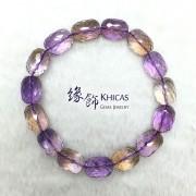 玻利維亞 5A+ 紫黃晶切割面桶珠手串 10x14mm