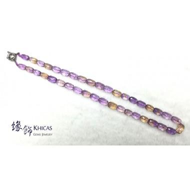 玻利維亞 5A+ 紫黃晶切割面桶珠項鍊 9x13mm
