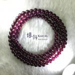 印度 4A+ 紫石榴石三圈手串 5mm+/-