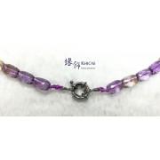 玻利維亞 5A+ 紫黃晶切割面桶珠項鍊 8x11mm
