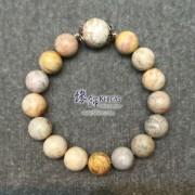 印尼 4A+ 珊瑚玉化石 12 / 14mm+/- 手串配銀飾