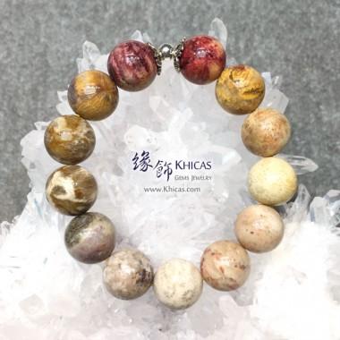 印尼 4A+ 珊瑚玉化石 14mm+/- 手串配銀飾