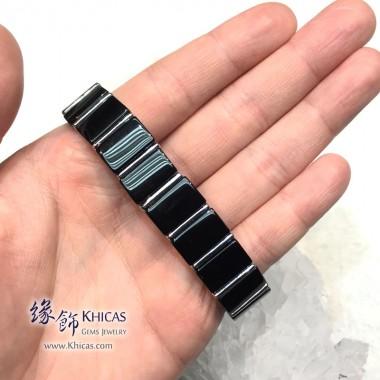 巴西黑碧璽間鈦片手排 9.5x15mm