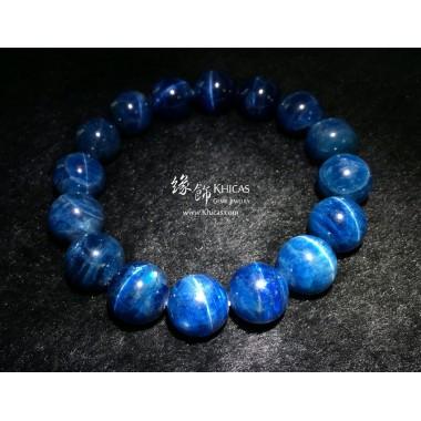 【罕見靚貓眼大珠】5A+ 貓眼藍色磷灰石手串 13.5mm