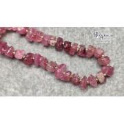 巴西粉紅碧璽原石不定形間 14K 金隔珠手串
