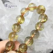 巴西 5A+ 玻璃種金鈦晶手串 11.5mm