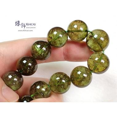 巴西 5A+ 玻璃種綠碧璽手串 ~14-15mm+/-(另包含一粒特大16.2mm+/-)
