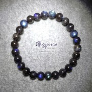 馬達加斯加 5A+ 黑體貓眼藍光拉長石手串 7.8mm+/-