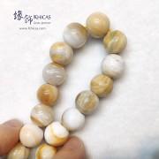 緬甸木化玉 / 玉化木化石 小橢圓形珠手串 12.6mm+/-