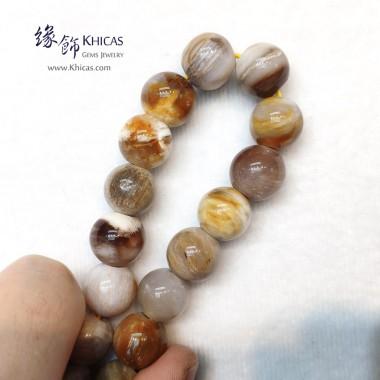 緬甸木化玉 / 玉化木化石 小橢圓形珠手串 13.5mm+/-