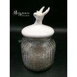 白晶碎石連玻璃罐 (鹿形蓋)