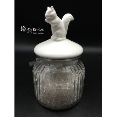 白晶碎石連玻璃罐 (松鼠形蓋)