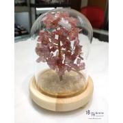 天然水晶幸運樹連玻璃罩【會發光的招財樹, 姻緣樹, 幸運樹 - ..