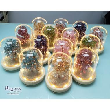 天然水晶幸運樹連玻璃罩【會發光的招財樹, 姻緣樹, 幸運樹 - 每棵 $600】