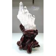 巴西 5A+ 白水晶簇 連樹根木座 13x11x24.5cm