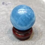 巴西海藍寶水晶球 ~45.4mm 連木座