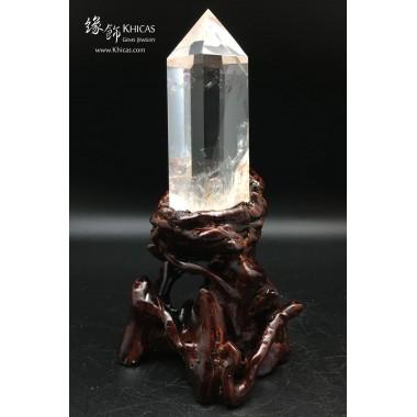 巴西 5A+ 超高清白水晶柱(連原木底座)