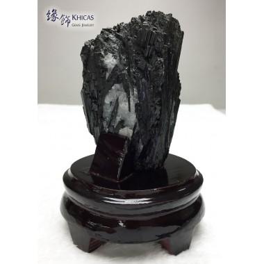 黑碧璽原礦連木座