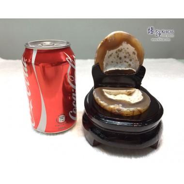 天然瑪瑙聚寶盆連木座 10.5x14.5x13cm