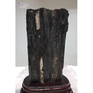 黑碧璽原礦連木座擺設 11.5x9x20cm