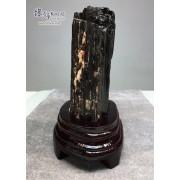 黑碧璽原礦連木座擺設 11x9x17cm