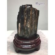 黑碧璽原礦連木座擺設 12x10.5x17cm