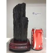 黑碧璽原礦連木座擺設 12x12.5x25.5cm