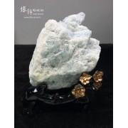 巴西海藍寶原石 連木座擺設