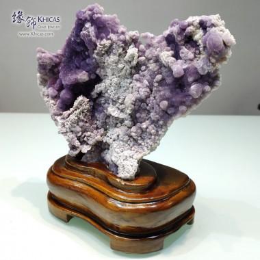 葡萄紫瑪瑙(葡萄紫玉髓)連木座擺設 15x9x20cm