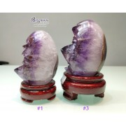 巴西紫鈦晶鵝蛋形擺設 連木座【多款可選—$1800起】