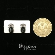 黑星石 蝴蝶結耳環