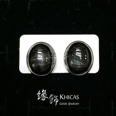 黑星石 大橢圓耳環