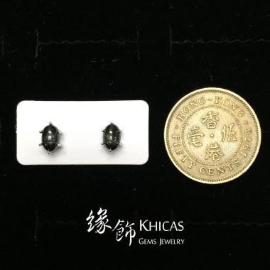黑星石 六爪鑲橢圓釘耳環