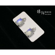 月亮石 四爪橢圓形耳環