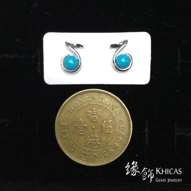 美國綠松石 音符耳環