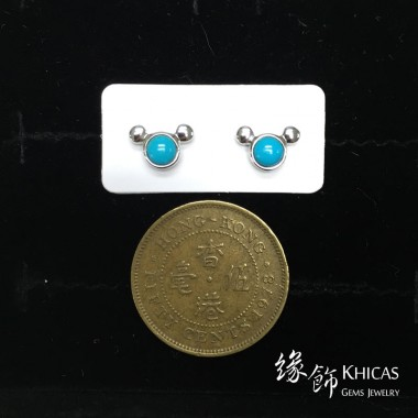 美國綠松石 米奇耳環