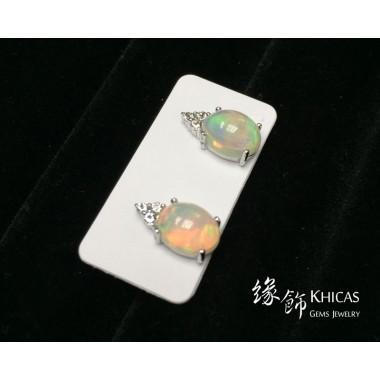 澳寶石 / 閃山雲 四爪橢圓形耳環
