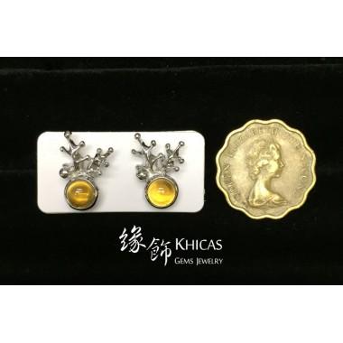 黃水晶 鹿角耳環