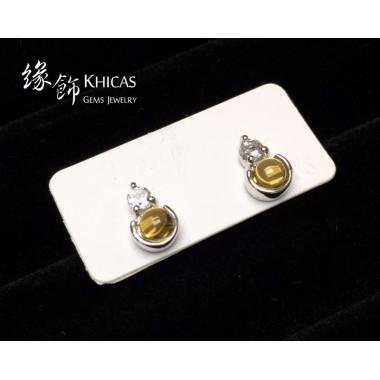 黃水晶 小圓釘耳環