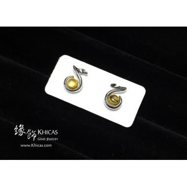 黃水晶 音符耳環