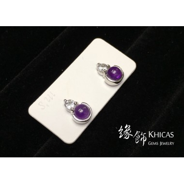 紫水晶 小圓釘耳環