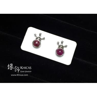 紅寶石 王冠耳環