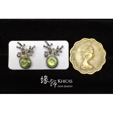 橄欖石 鹿角耳環