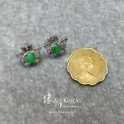 翡翠925純銀 蝴蝶銀鑲耳釘